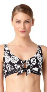 Anne Cole Coming Up Floral Banded Triangle Top 18MT10654-BKWH: