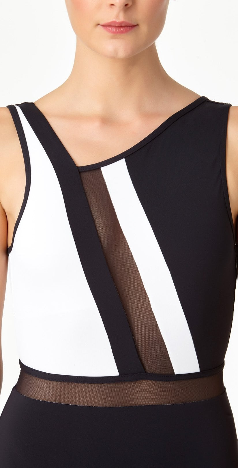 Anne Cole Hot Mesh Asymmetrical One Piece 18MO08004-Black/White up close view