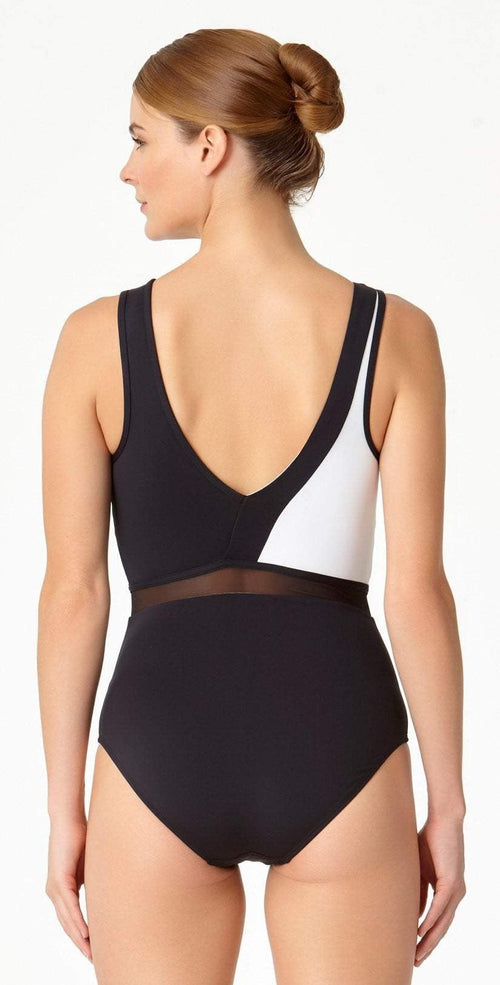 Anne Cole Hot Mesh Asymmetrical One Piece 18MO08004-Black/White back view