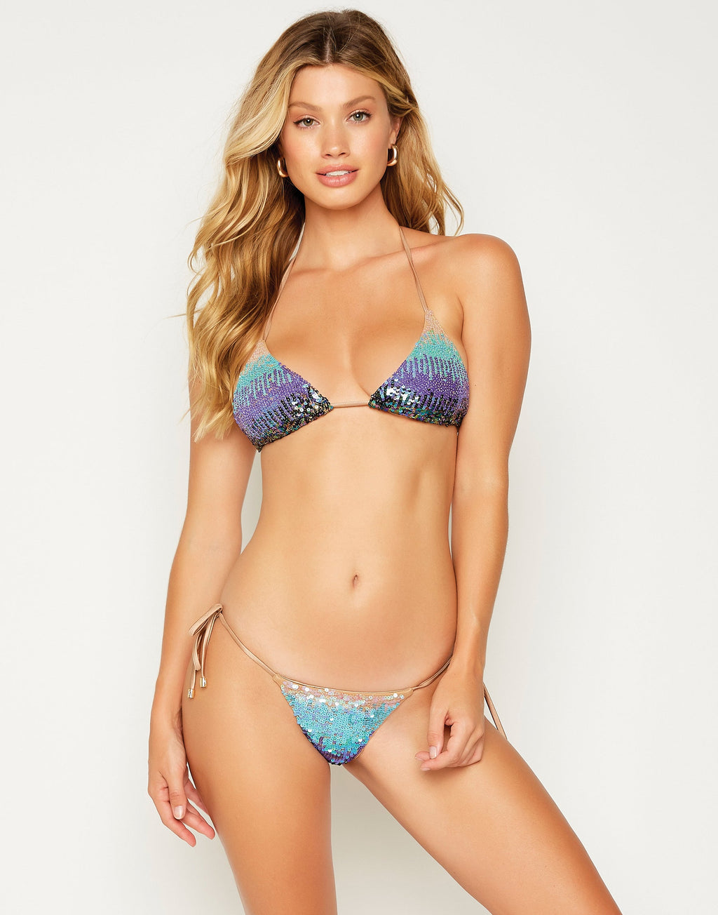 Sexy Ariel Triangle Bikini Top in Blue Sequin - front view