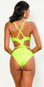 Keva J Neon Lights Au Natural Cut Out Monokini in Neon Yellow