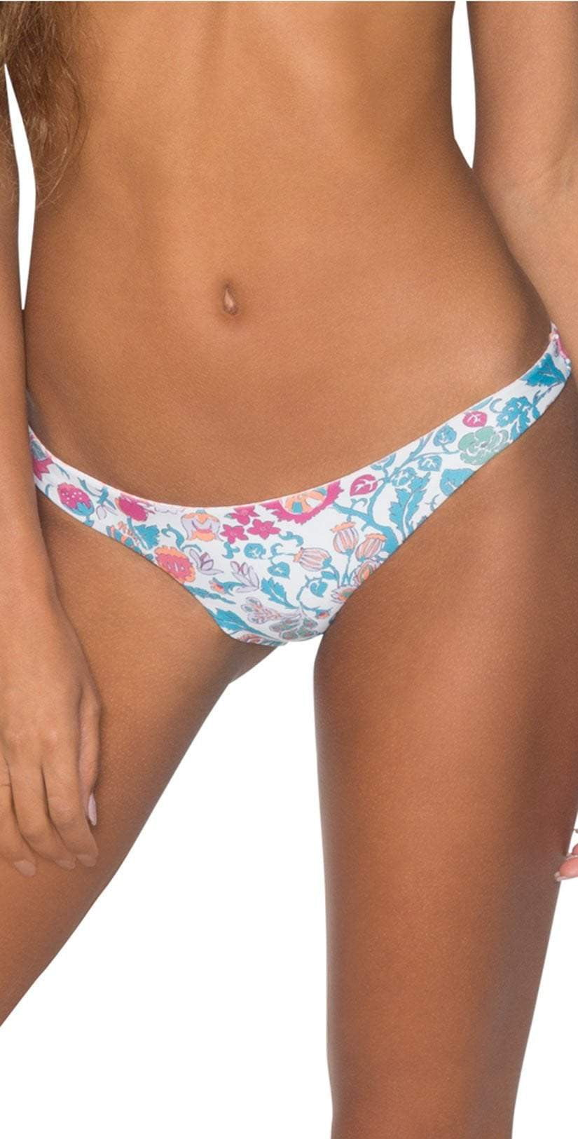 B. Swim Mele Blossom White Hampton Flip Reversible Bikini Bottom front view bottom only