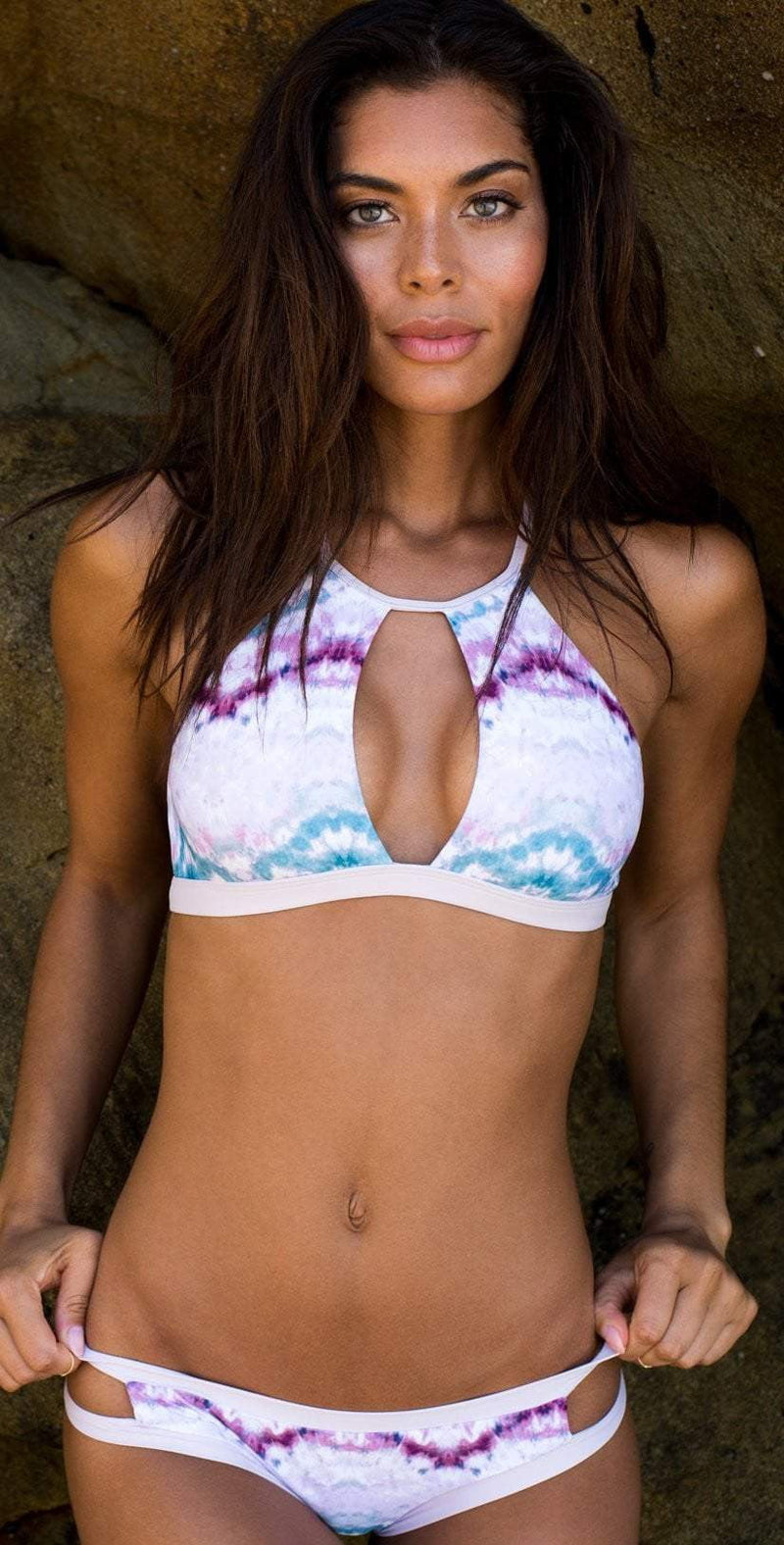 B. Swim Makai Tie Dye Waterfall High Neck Bikini Top U82-MATD: