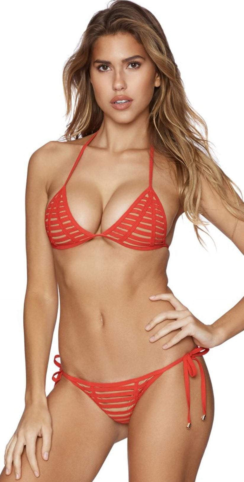 Beach Bunny Hard Summer Tie Side Skimpy Bottom in Red B16104B2-REDD front view of top and bottom