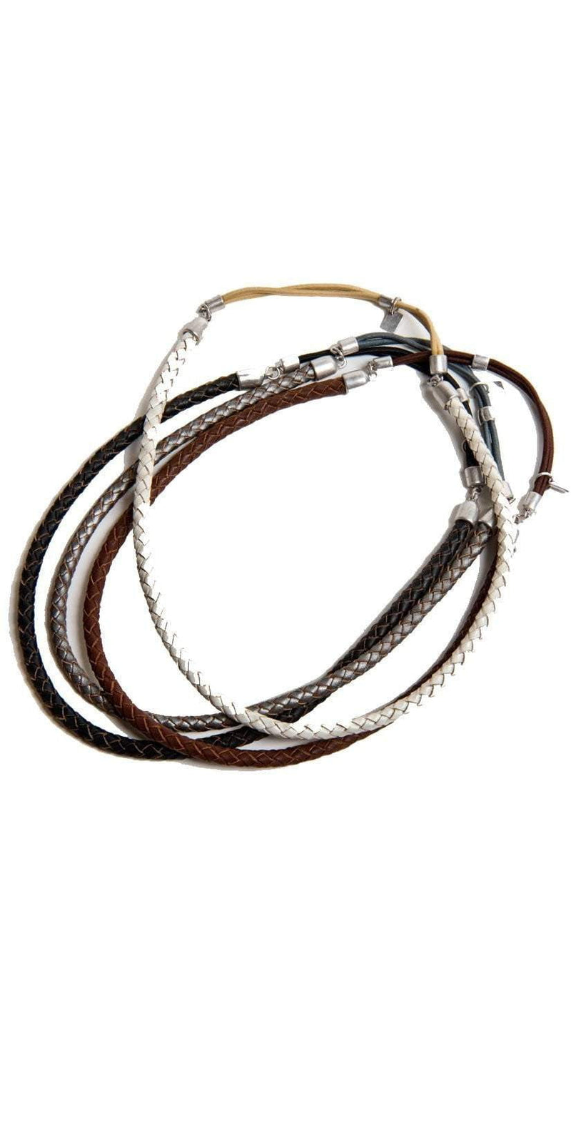 Ficcare Single Braided Leather Headband in Silver B978: