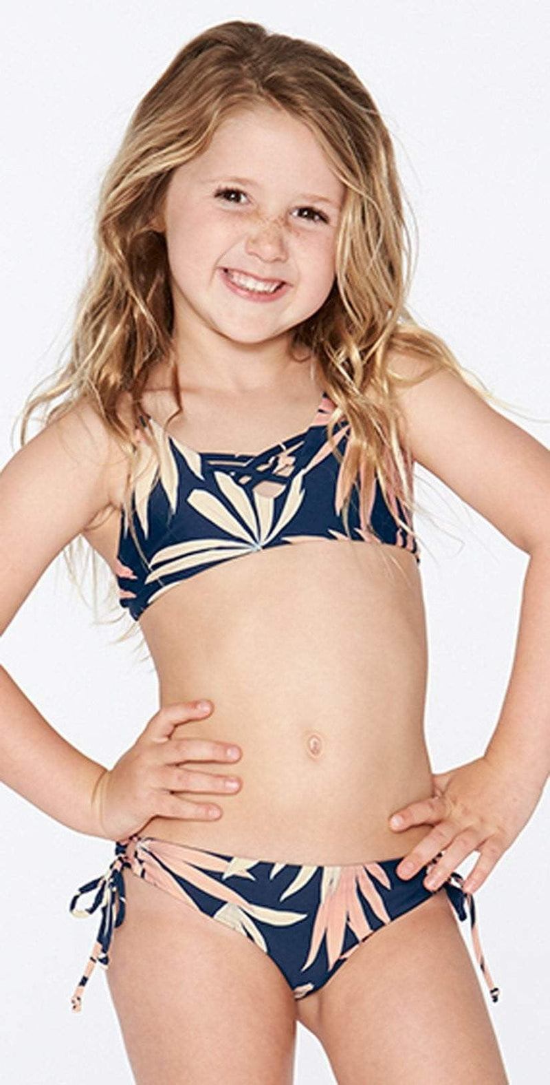L Space Girls JoJo Bikini Set in Polynesian Palm BLPPS18-NVY: