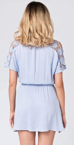 Pia Rossini Aubree Short Dress in Light Blue AUB00881 BLU001:
