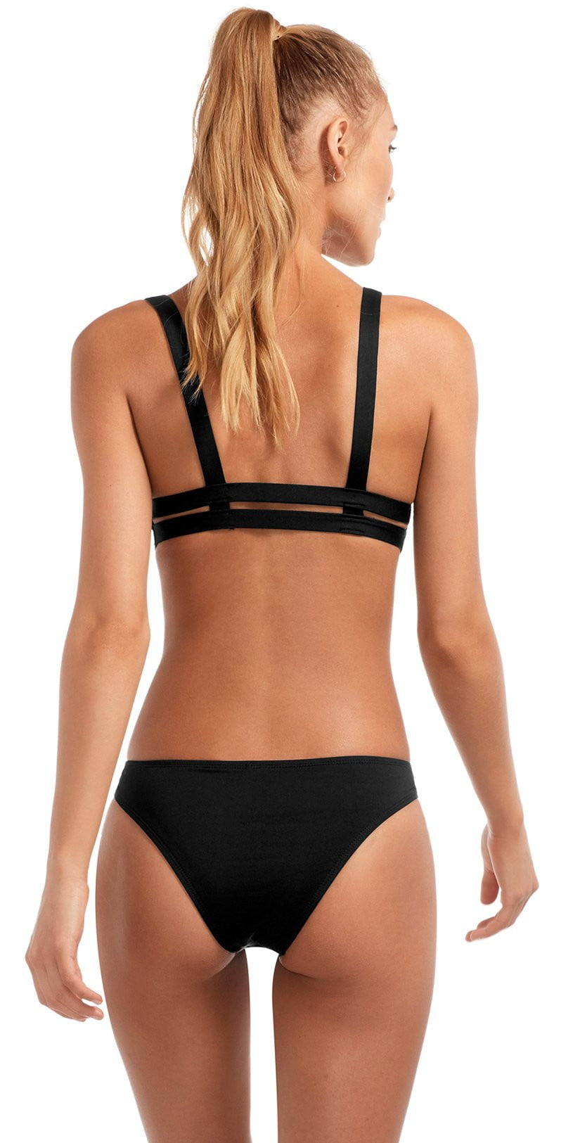 Vitamin A EcoLux Neutra Bralette Top in Black 40T ECB back view of top and bottom