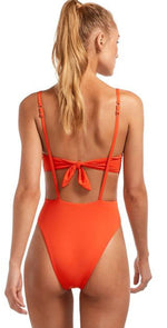 Vitamin A EcoLux Edie One Piece Bodysuit in Papavero in Full Coverage 802MF PAP: