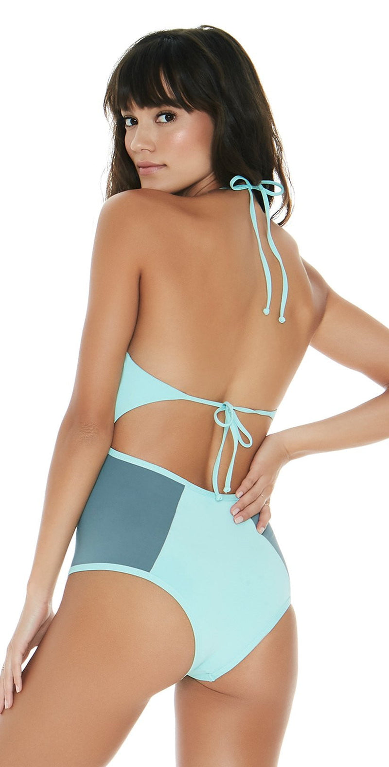 L Space Color Block Fireside One Piece in Light Turquoise CBFIM17-LIT: