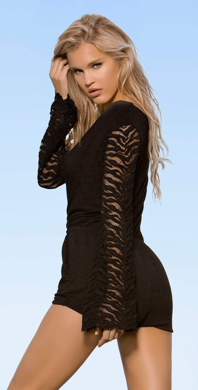 Lady Lux Pillow Talk Black Romper LL219R side view