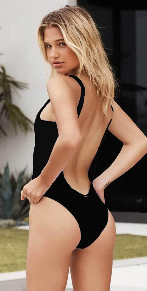 Beach Bunny Rib Tide One Piece in Black Back View
