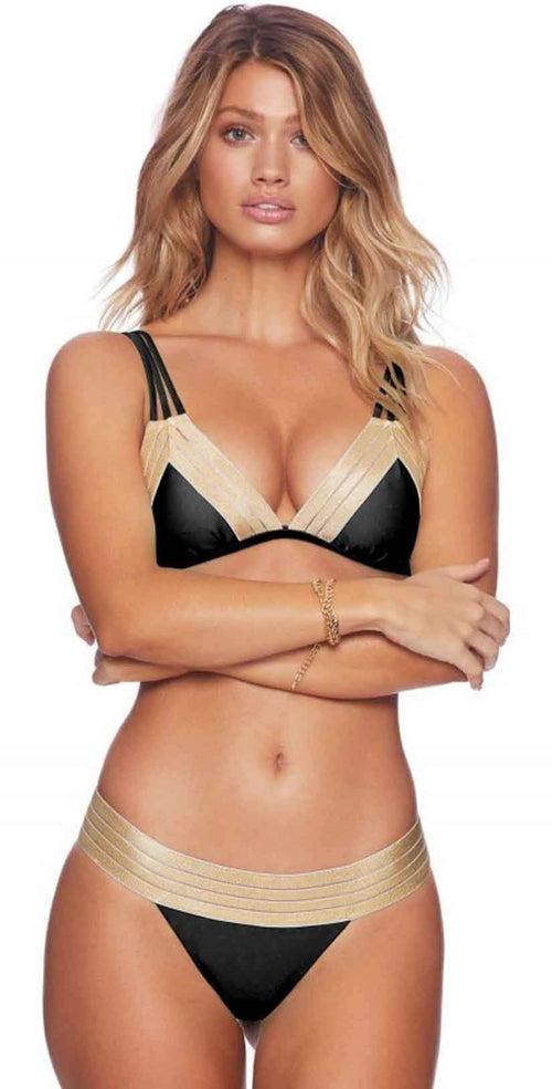 Beach Bunny Sheer Addiction Triangle Top Bikini With Skimpy Bottom Bikini in Gold and Black