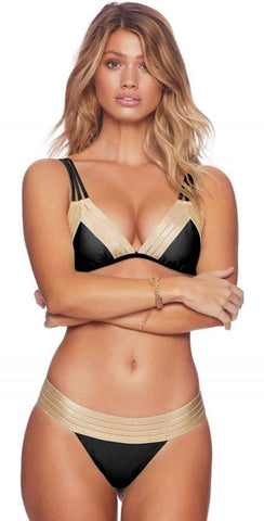 Beach Bunny Sheer Addiction Skimpy Bottoms In Black and Gold B17123B1-BLCK