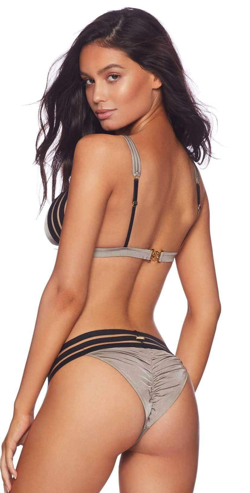 Beach Bunny Sheer Addiction Tri Top In Taupe B16125T1-TAUPE: