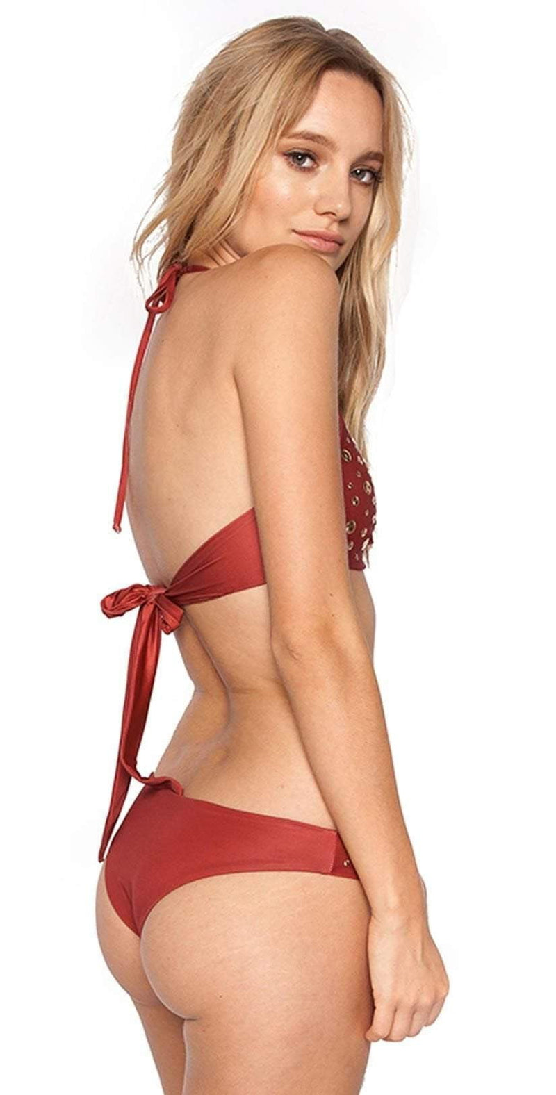 Beach Riot Madison High Neck Studded Halter Top In Sienna ASIEHT-SIE:
