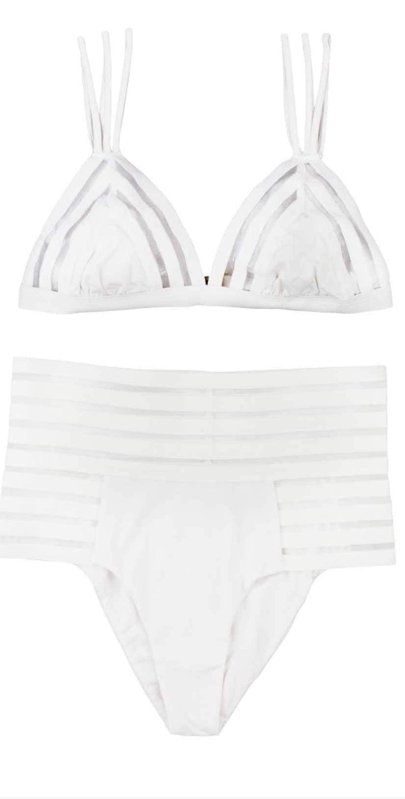 Beach Bunny Sheer Addiction Triangle Top In White B16125T1-WHT:
