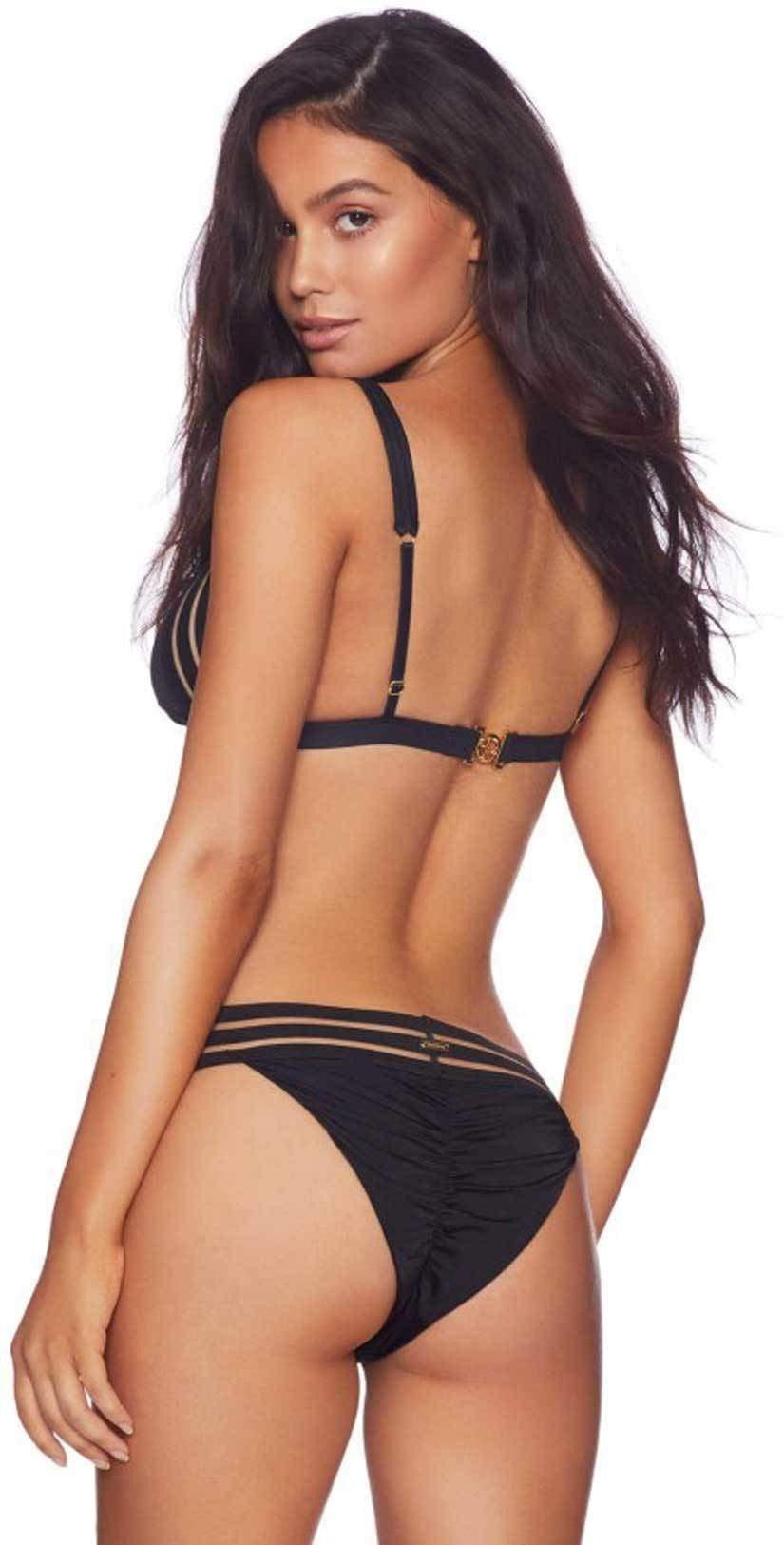 Beach Bunny Sheer Addiction Skimpy Bottom in Black B16125B1-BLCK Back View