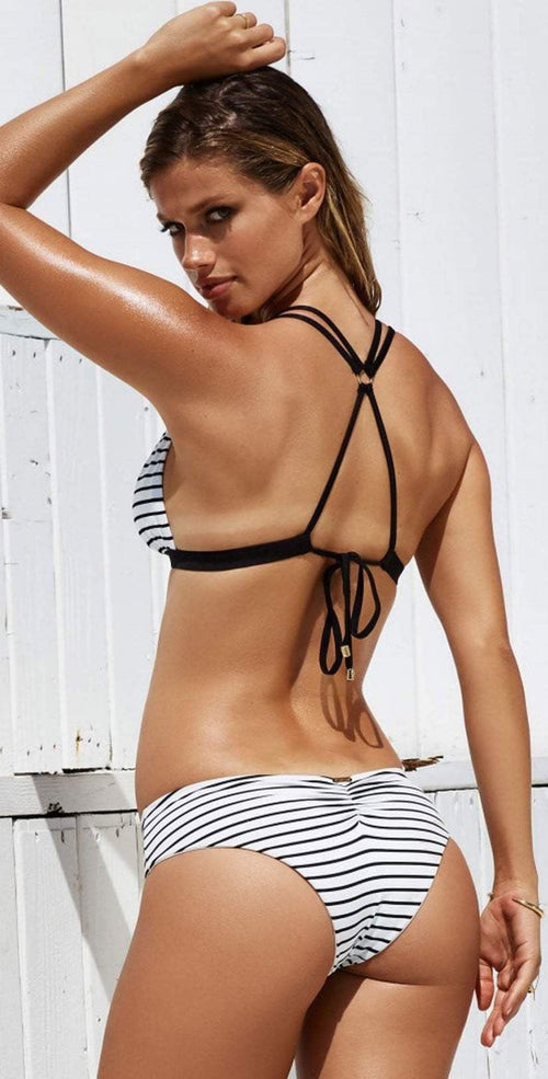 Beach Bunny Fine Lines Reversible Hipster Bottom B17106B8R-STRPE back view of top and bottom