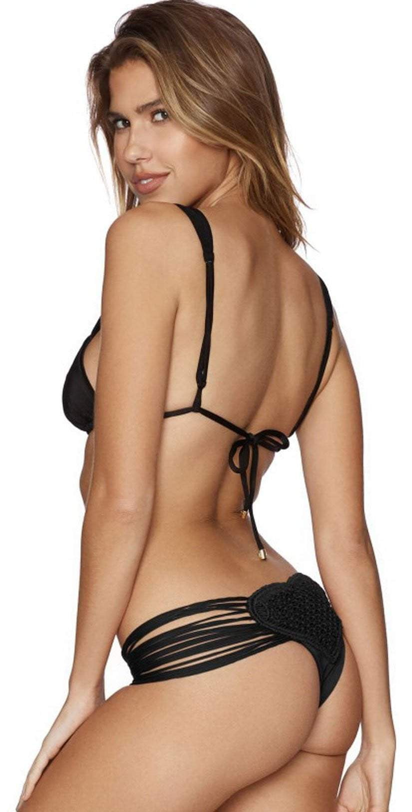 Beach Bunny Queen of Hearts Tango Bottom in Black B17126B4-BLK: