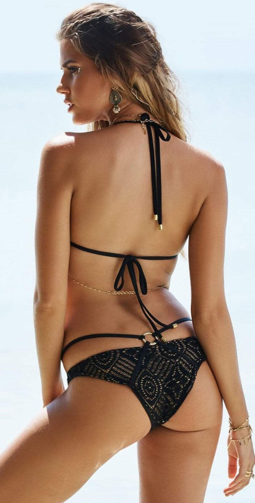 Beach Bunny Love Me Like You Do Skimpy Bottom In Black B17113B1-BLCK: