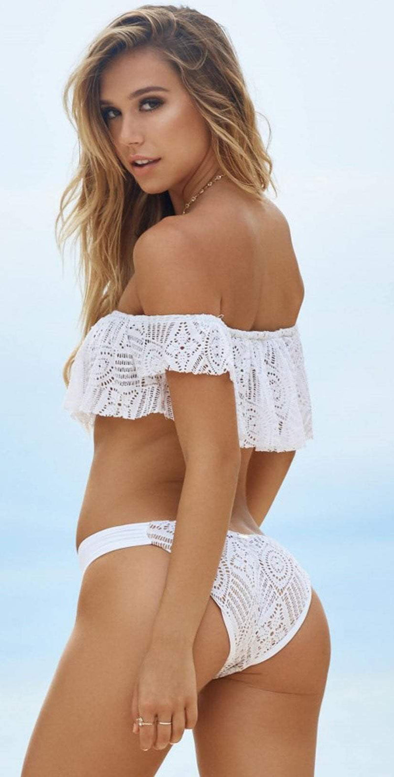Beach Bunny Love Me Like You Do Sweetheart Bottoms in White B17113B5-WHTE: