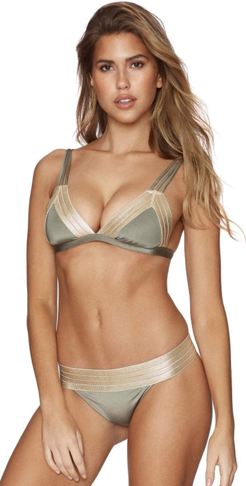Beach Bunny Sheer Addiction Triangle Top in Army B17123T1-313-AMY: