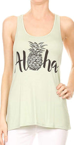 Bear Dance Aloha Tee with Pineapple in Light Green G1024: