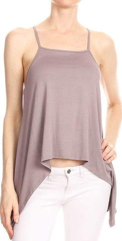 Bear Dance Solid Spaghetti Strap Top in Purple Grey T2440