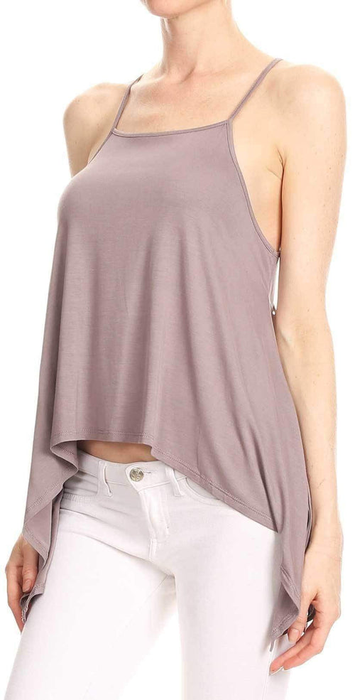Bear Dance Solid Spaghetti Strap Top in Purple Grey T2440: