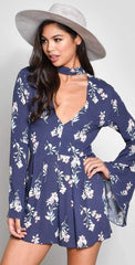 Blue Blush Rayon Gauze Print Long Sleeve Chocker Romper | Navy Blue and Floral Romper | 2018 | V Neck Romper | Bell Sleeves | Shorts