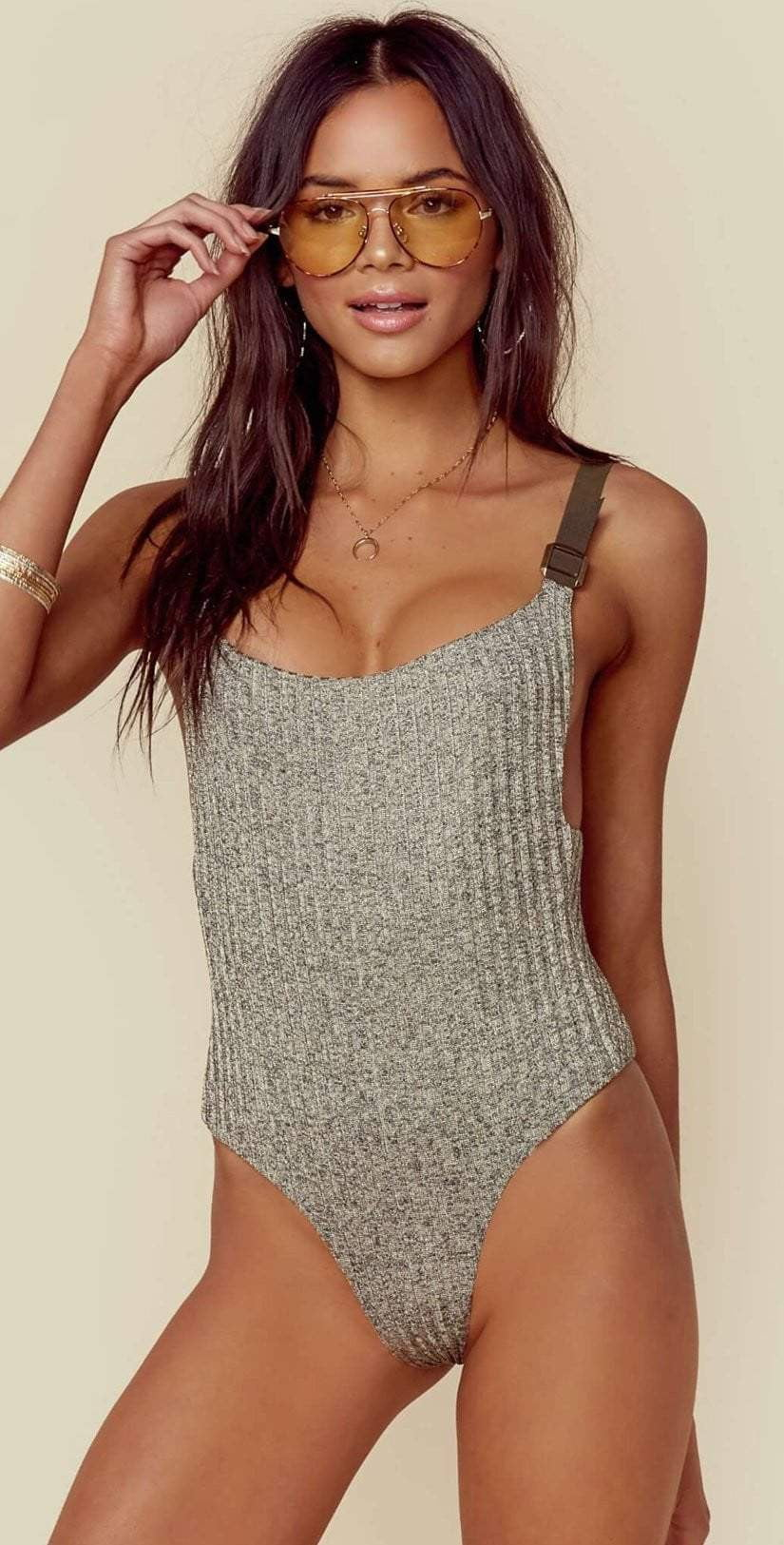Blue Life Buckled Overall One Piece in Tarnished Gold 444-9464-TAR:
