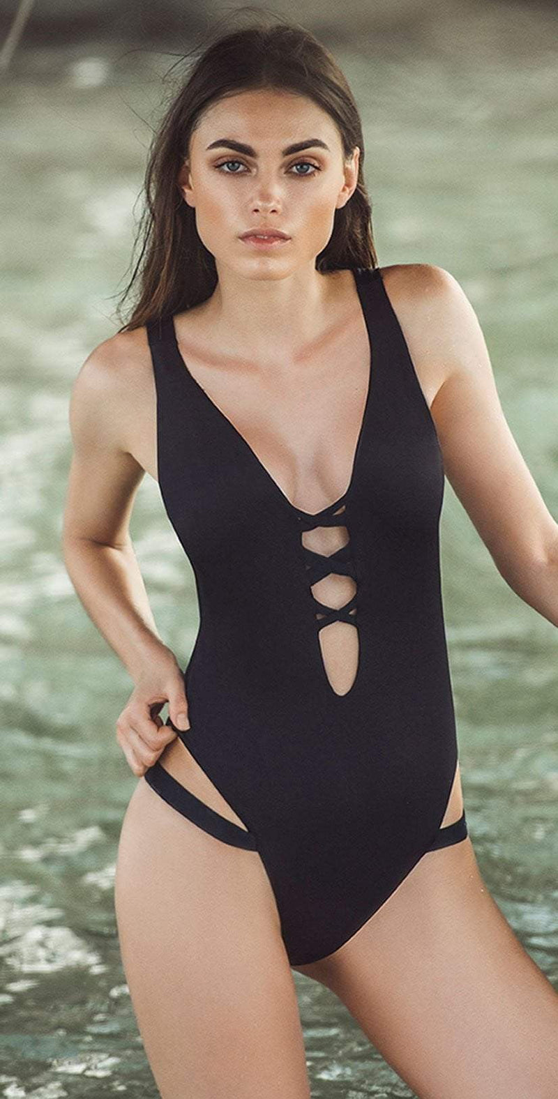 Boamar Caviar One Piece in Black FPC005-BLK: