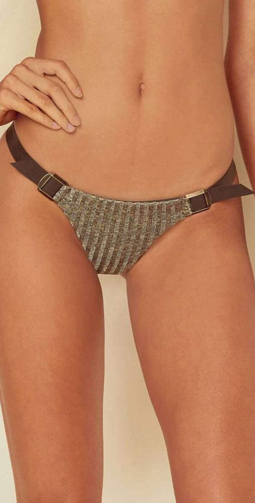 Blue Life Buckled Skimpy Bottom in Tarnished Gold 444-2458-TAR bottom only front view