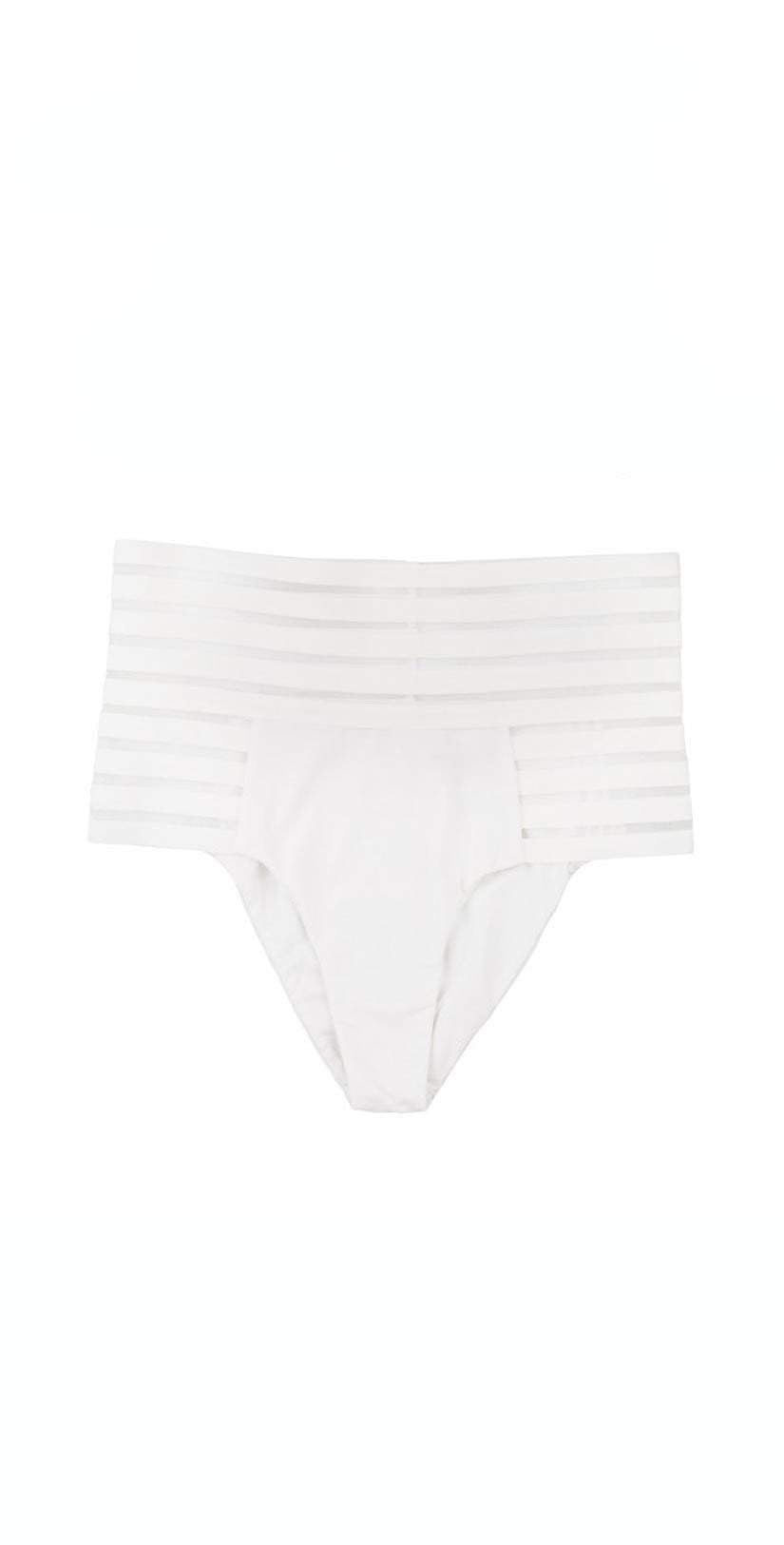 Beach Bunny Sheer Addiction High Waist Skimpy Bottom in White B16125B0-WHT Bottoms only