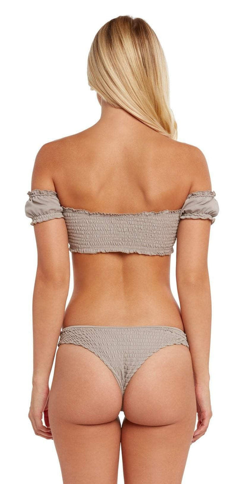 Chloe Rose Honey Bikini Set In Khaki back view cheeky bottom with back of off shoulder top