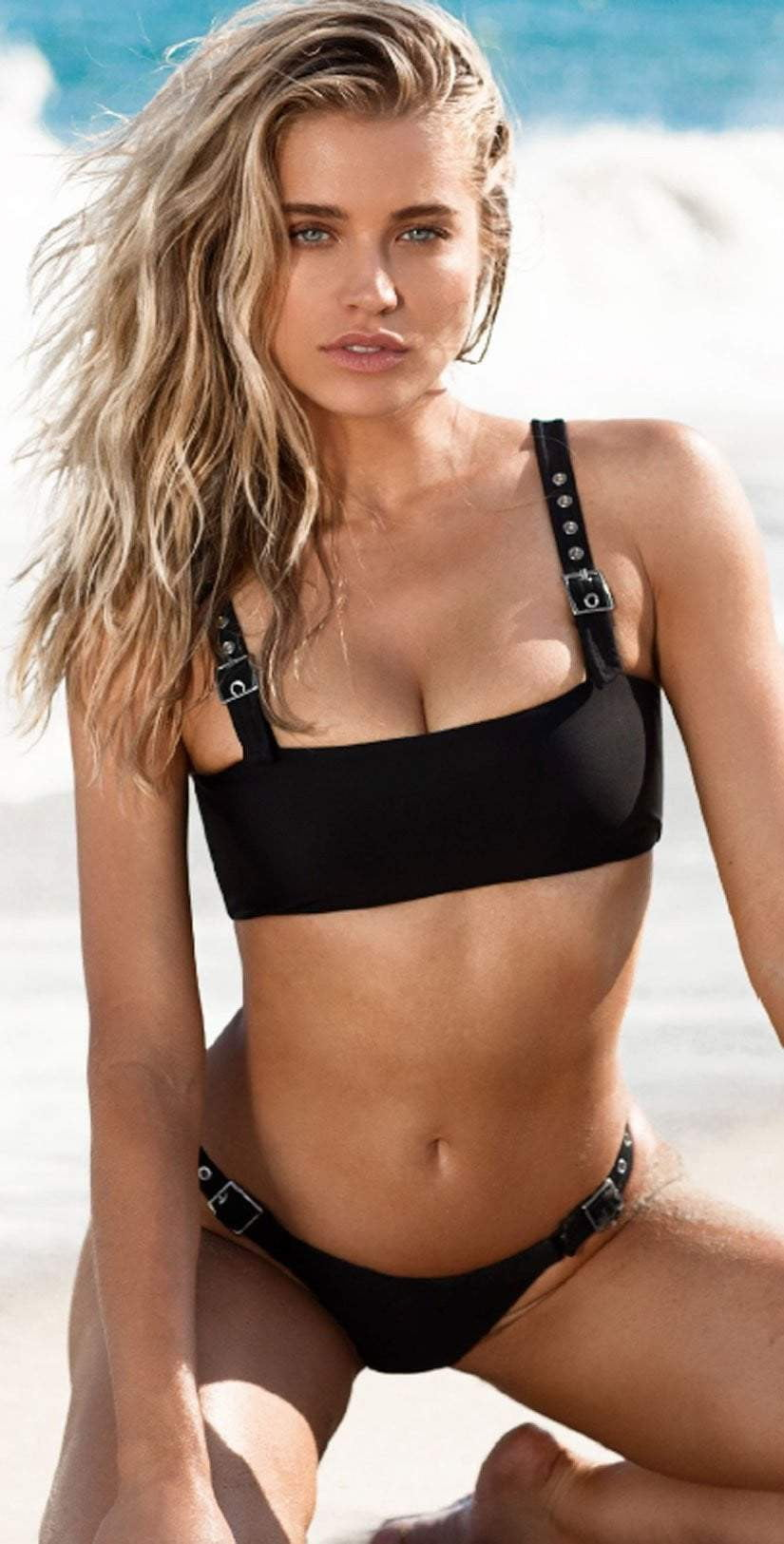 22d6ab47d47 Chloe Rose Buckle Up Babe Bikini Bottom in Black front view of top and  bottom