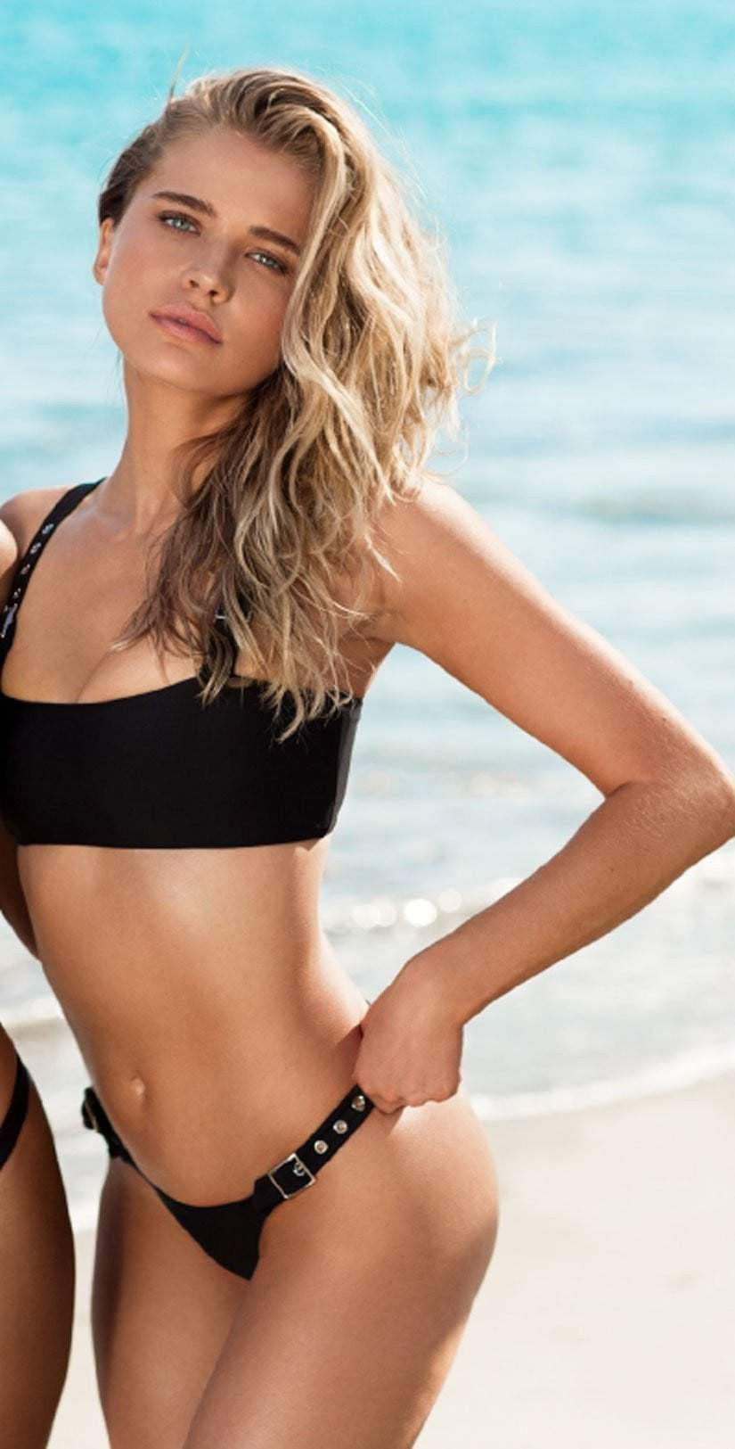 Chloe Rose Buckle Up Babe Bikini Bottom in Black: