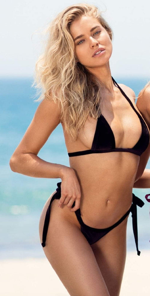 8e9f65aa35b Chloe Rose Sun Soaked Set in Bronze Velvet Bikini Top front view of bottoms  and top