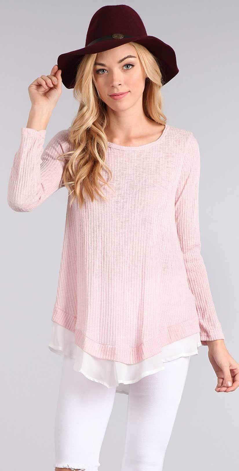 Chris and Carol Knit Sweater with Chiffon Detail in Pink | 2018 | Long Sleeve shirt |