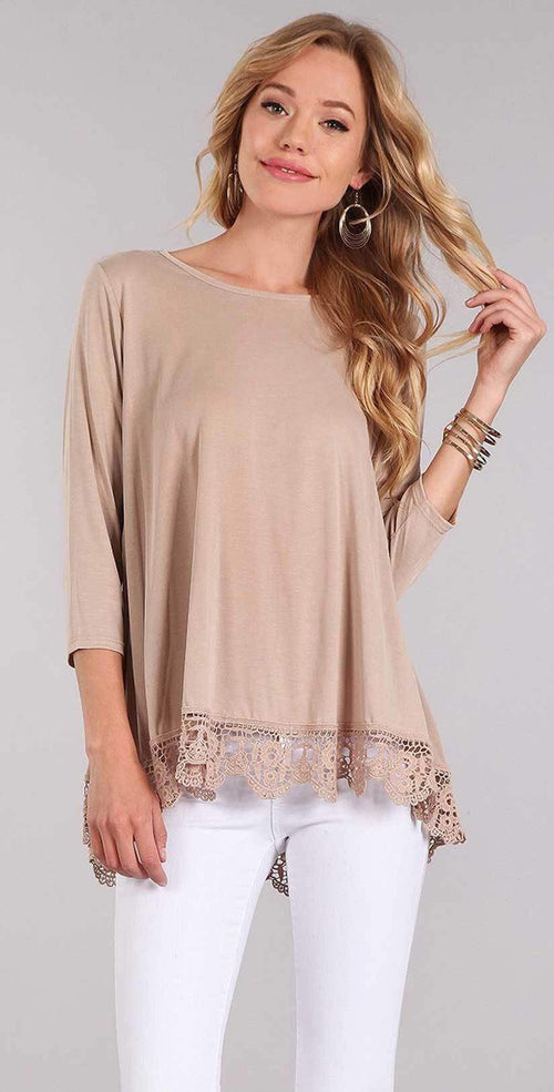Chris and Carol Lace Bottom Trim with 3/4 Sleeves In Beige