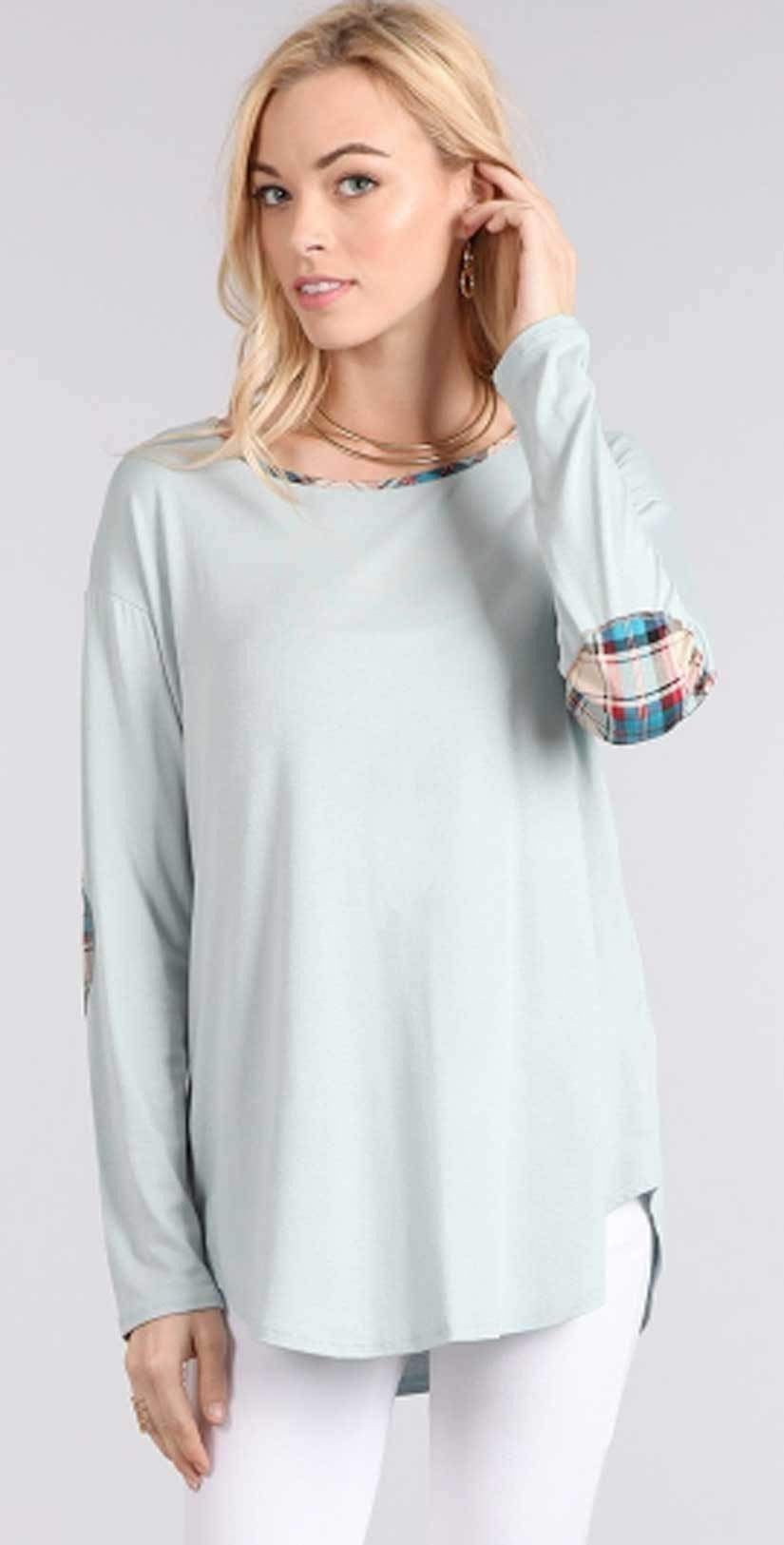 Chris and Carol Elbow Patch Long Sleeve Knit Top