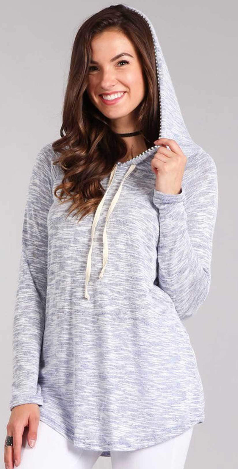 Chris and Carol Heathered Knit Long Sleeve Top with Striped Hoodie in Blue 1610080T: