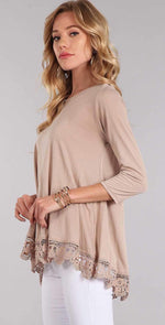 Chris and Carol Lace Bottom Trim with 3/4 Sleeves In Beige CTB018: