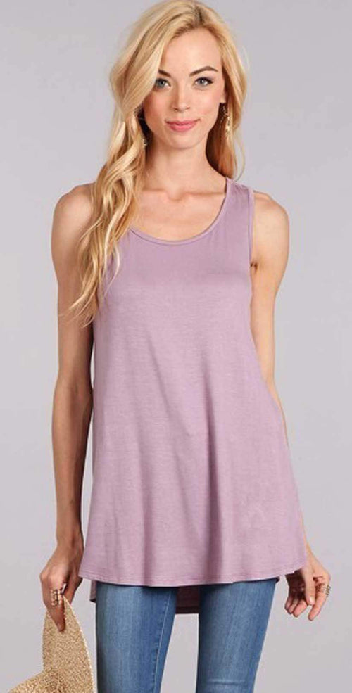 Chris and Carol Plain Tank Top In Mauve