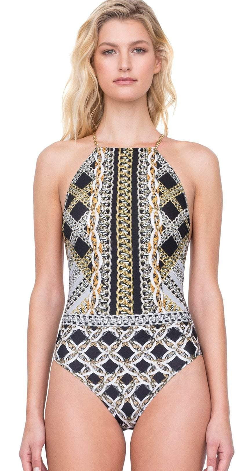 Gottex Chains Of Gold High Neck One Piece Swimsuit 19CG-149-018: