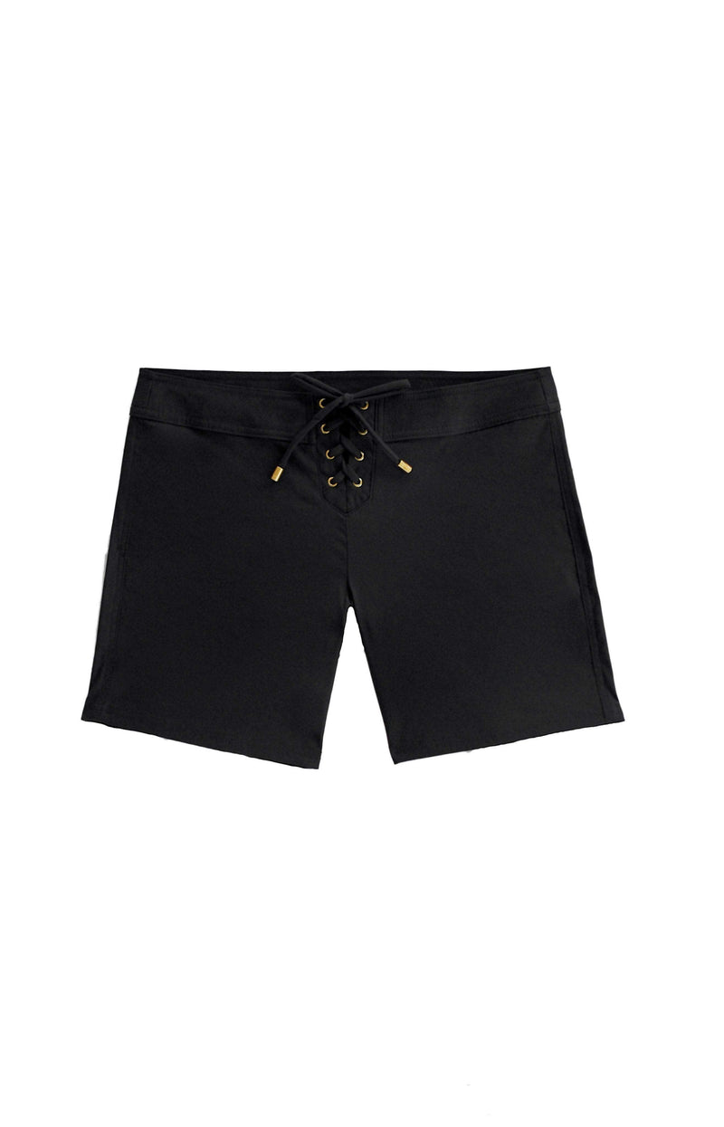 "Helen Jon Black 7"" Lace Up Board Short HJRE-0502BKS0:"