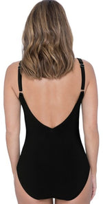 Profile by Gottex Moto V-Neck One-Piece Swimsuit in Black E934 2D31 001: