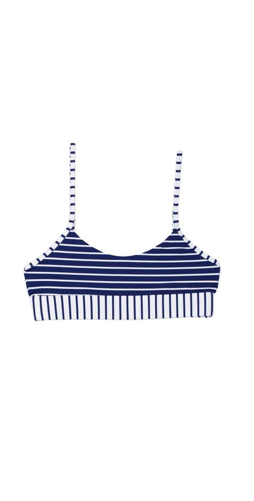 Beach Bunny Emerson Bralette in Navy and White B18138T0-NVWS top only flat lay of front view