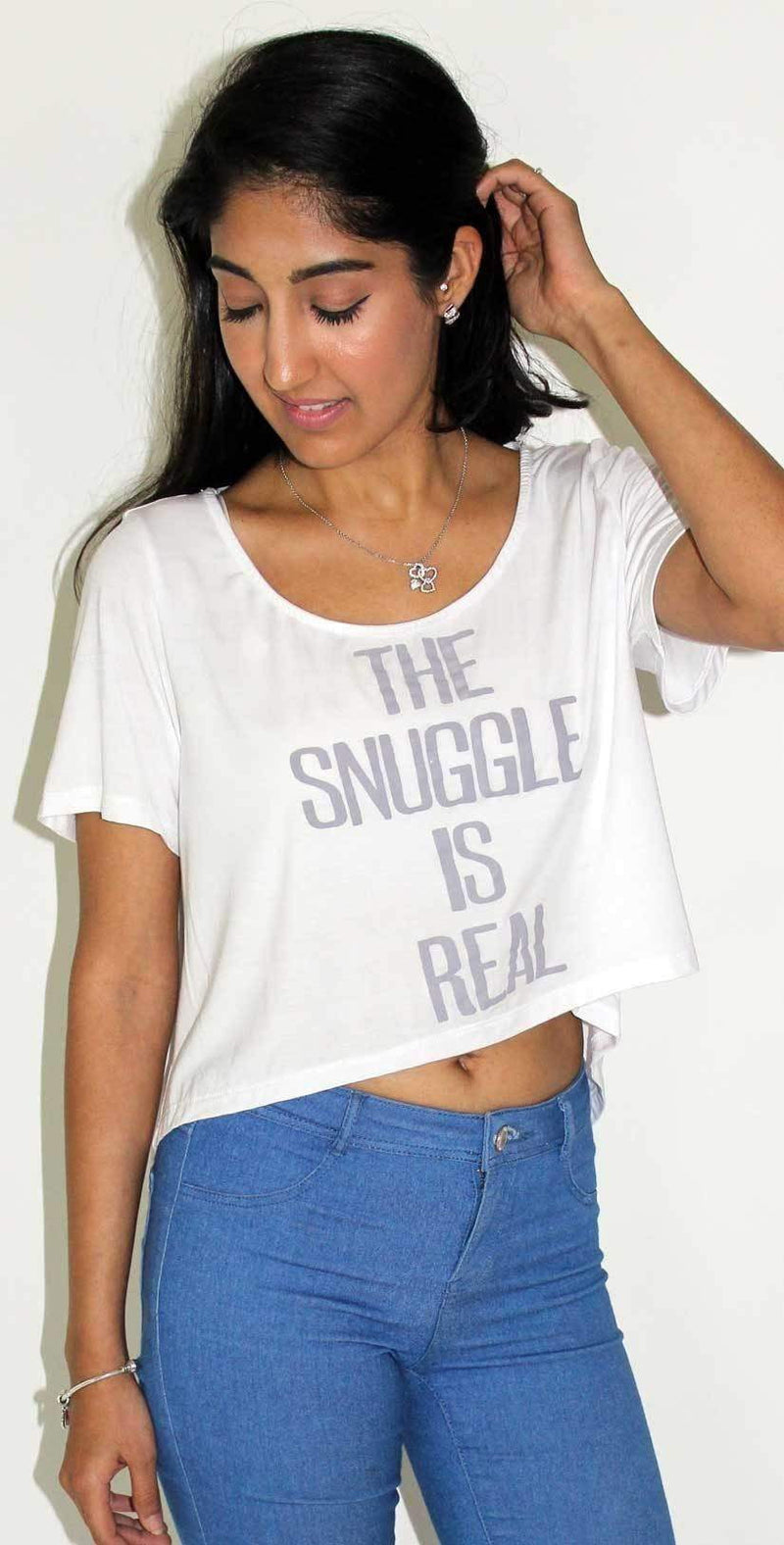 Ete Apparel The Snuggle is Real Crop Top T Shirt in White 1-13-WHT-TSIR-17-P: